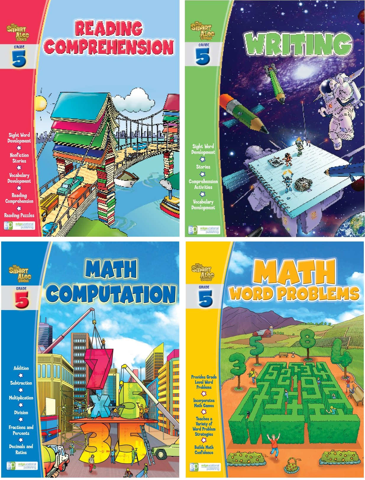 Smart Alec (5th Grade) Four Pack Learning Series, Includes: Writing, Math Computation, Reading Comprehension, Math Word Problems