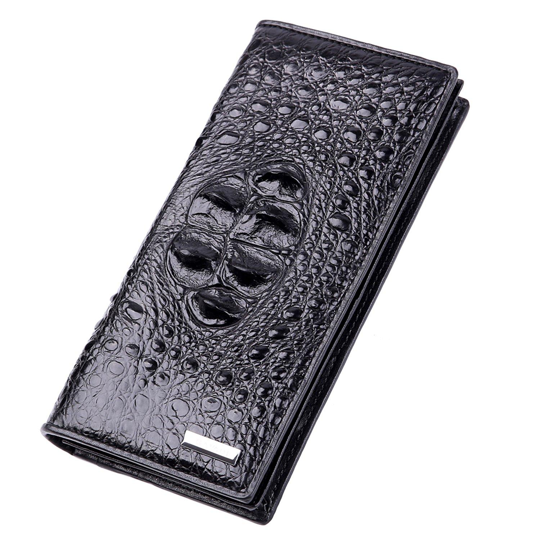Men Crocodile Leather Fashion Business Long Wallet With Zipper Closure