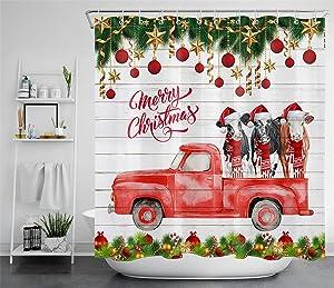 ECOTOB Merry Christmas Shower Curtain Decor, Xmas Balls Funny Farm Cow on Farmhouse Red Truck Rustic Wood Shower Curtains 72X72 inch Polyester Fabric Bathroom Decorations Bath Curtains Hooks Included