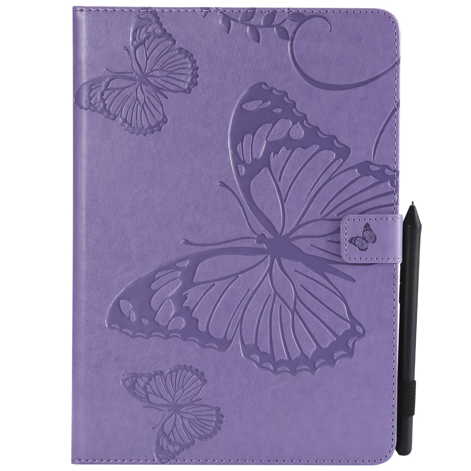 Bear Village iPad Pro 9.7 Inch Case, Butterfly Embossed Anti Scratch Shell with Adjust Stand, Smart Stand PU Leather Case for Apple iPad Pro 9.7 Inch, Purple by Bear Village