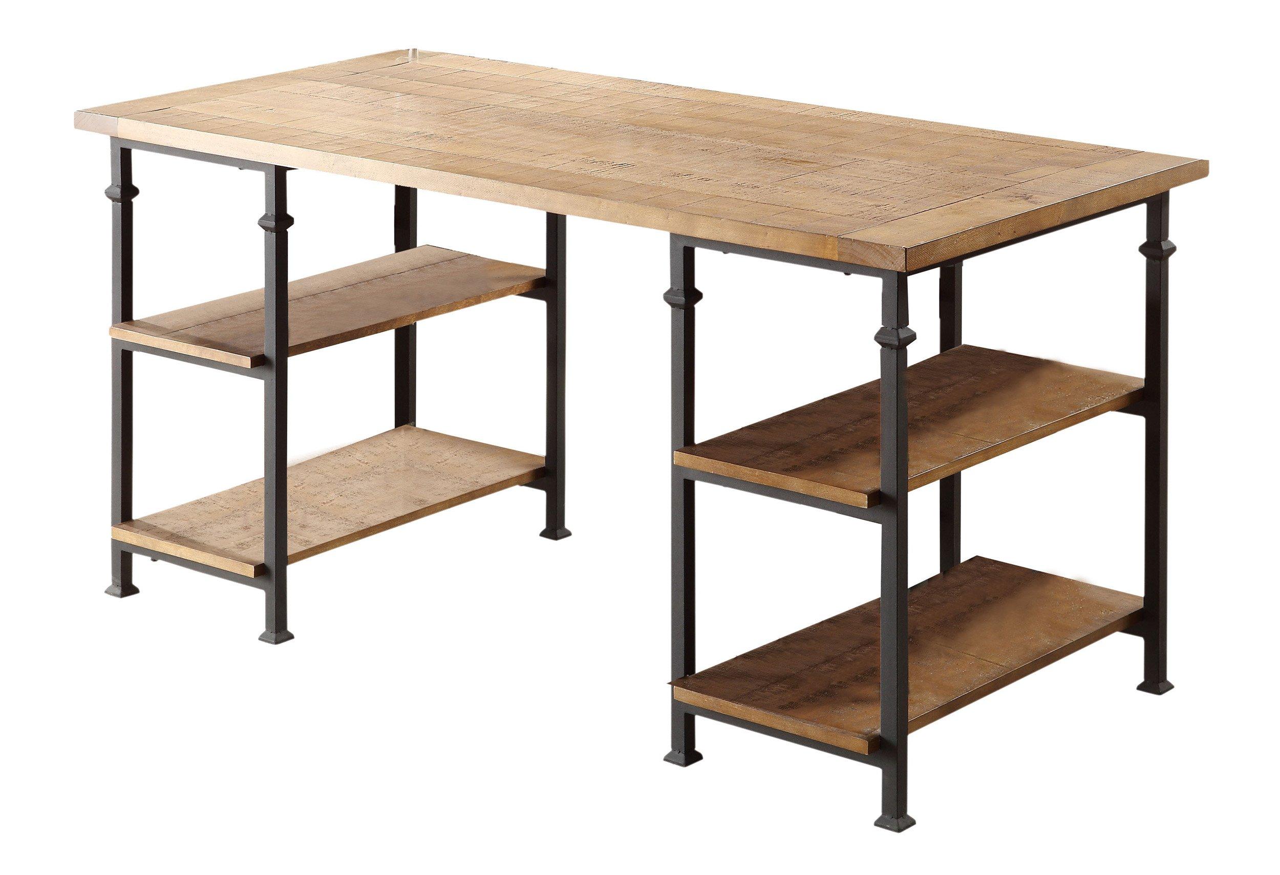 Homelegance Factory Metal Frame Writing Desk, Rustic Brown by Home Elegance
