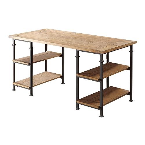 Homelegance 3228 15 Writing Desk With Metal Frame, Burnished Brown