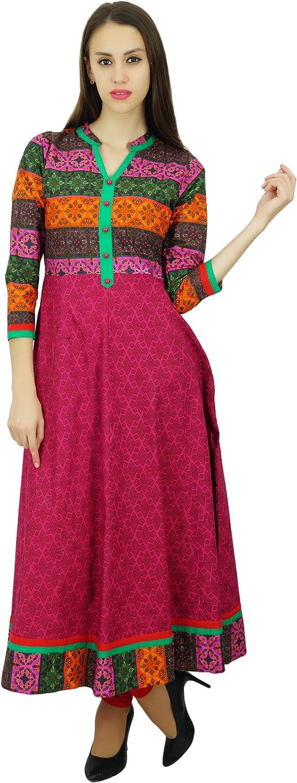 Amoghah imprim/é /à Long Anarkali Coton Kurta Kurti Indien Traditionnel pour Les Femmes