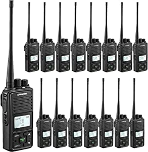 SAMCOM FPCN10A Two Way Radio Rechargeable 3000mAh Battery Business UHF Handheld Ham Walkie Talkie Long Range Radio 20 Channels/Double PTT/LCD Display/Earpieces/VOX/SCAN/Lock, 16 Packs