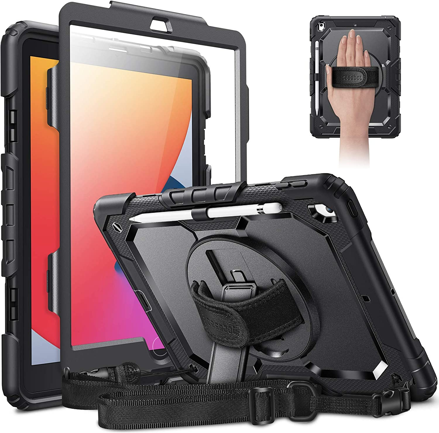 CaseBot Case for iPad 8th Generation 2020 / 7th Gen 2019 10.2 with Screen Protector, [360° Rotating Kickstand] Rugged Heavy Duty Hybrid Shockproof Cover with Hand Shoulder Strap, Pencil Holder (Black)