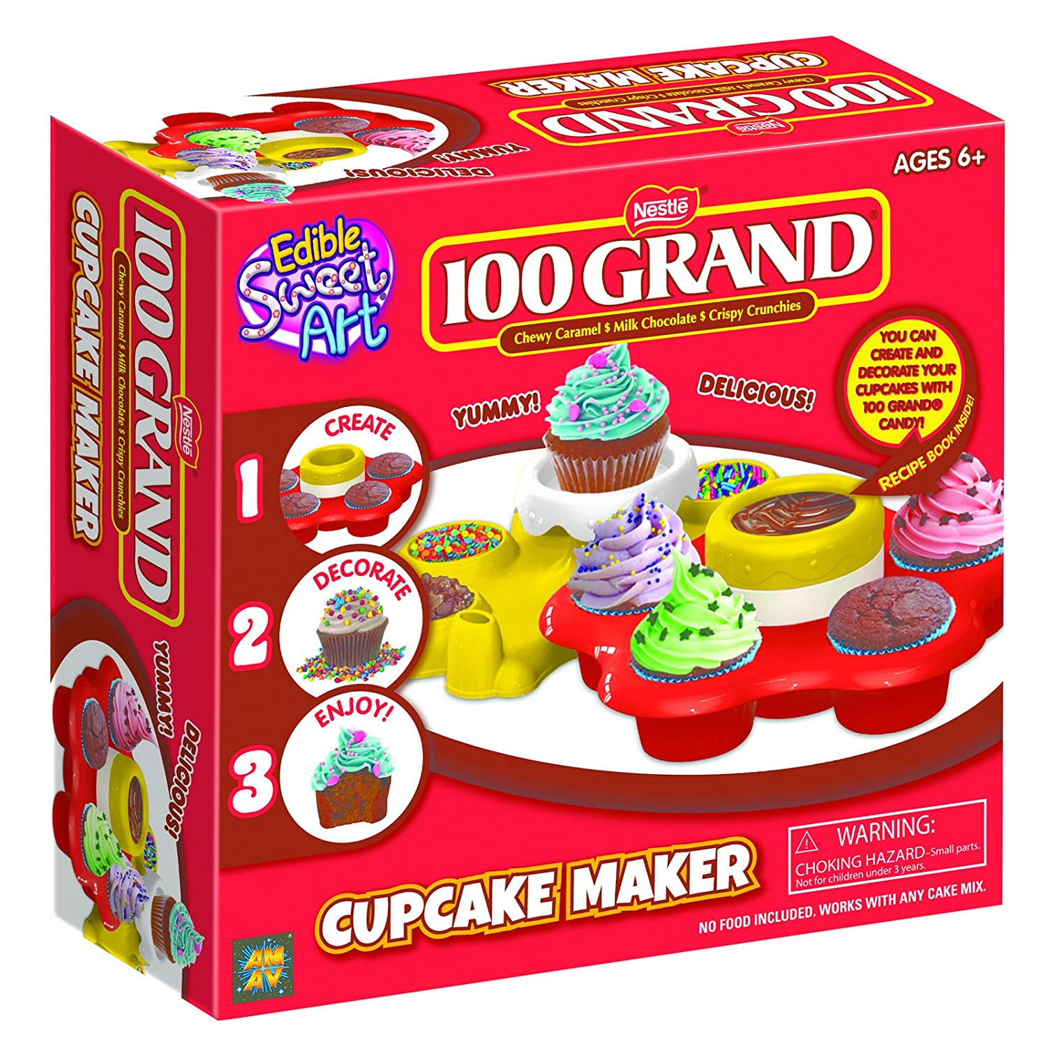 AMAV 100 Grand Cupcake Maker Toy Activity Set Using Microwave Baking - DIY Make Your Own Delicious Treat - Edible Sweet Art