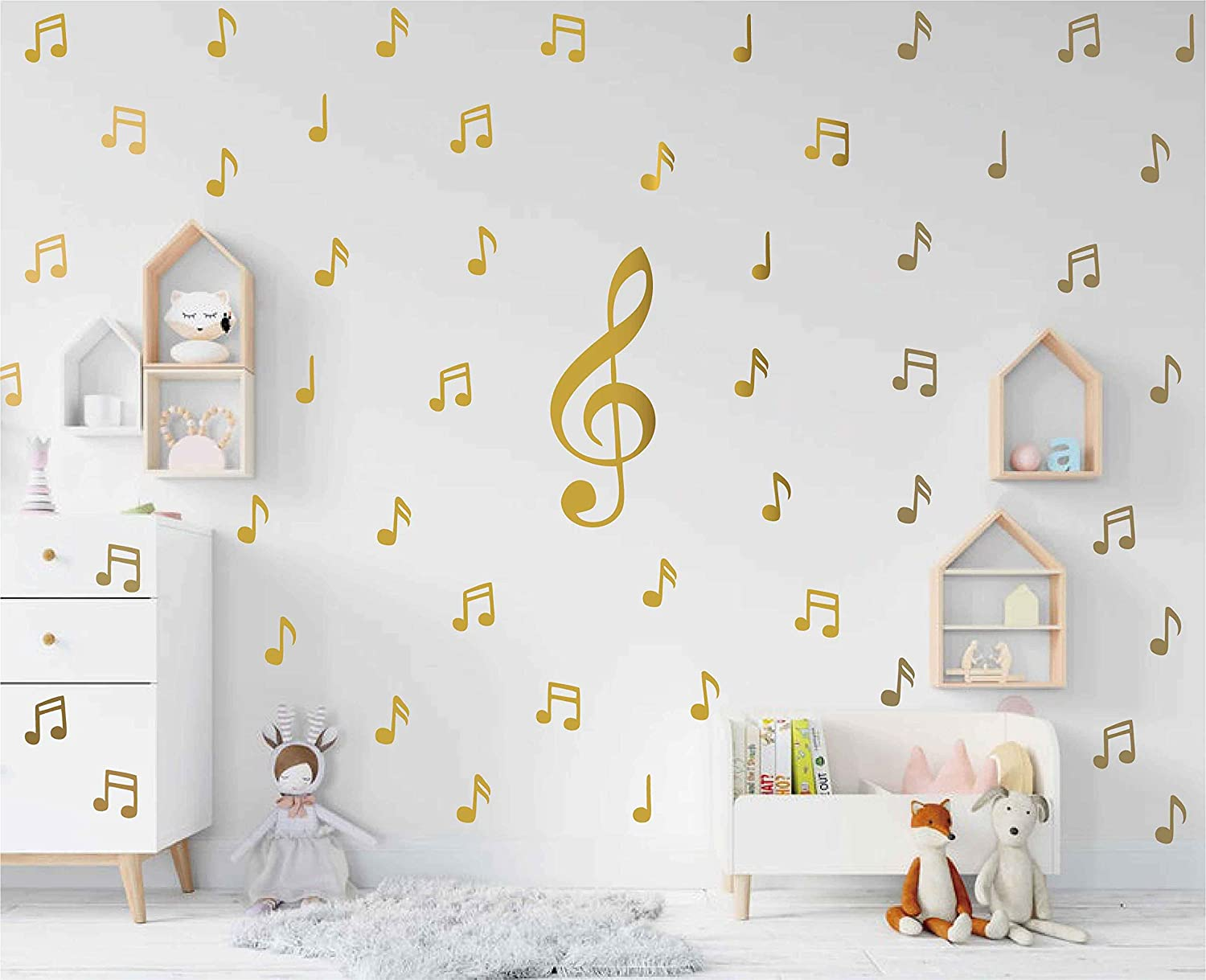 Music Note Pattern Sticker for Kid's Bedroom Music Lover Decorate Wall Decal Baby Girl Removable Home Decor AD04 (Gold)