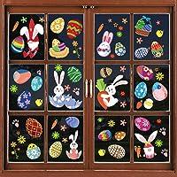 Decoración para ventana de Pascua, 95 piezas en 8 hojas, pegatinas de Pascua de gnomos, huevos, conejo, zanahorias…