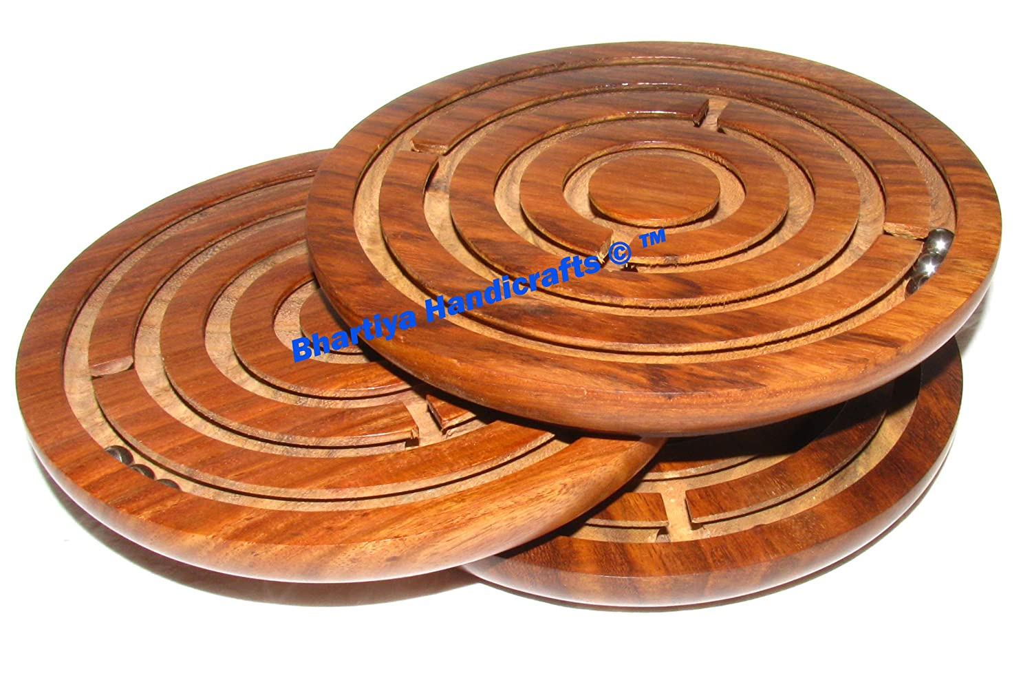 Round Labyrinth Maze Board Game Wooden Toys Brain Teaser Puzzle Game