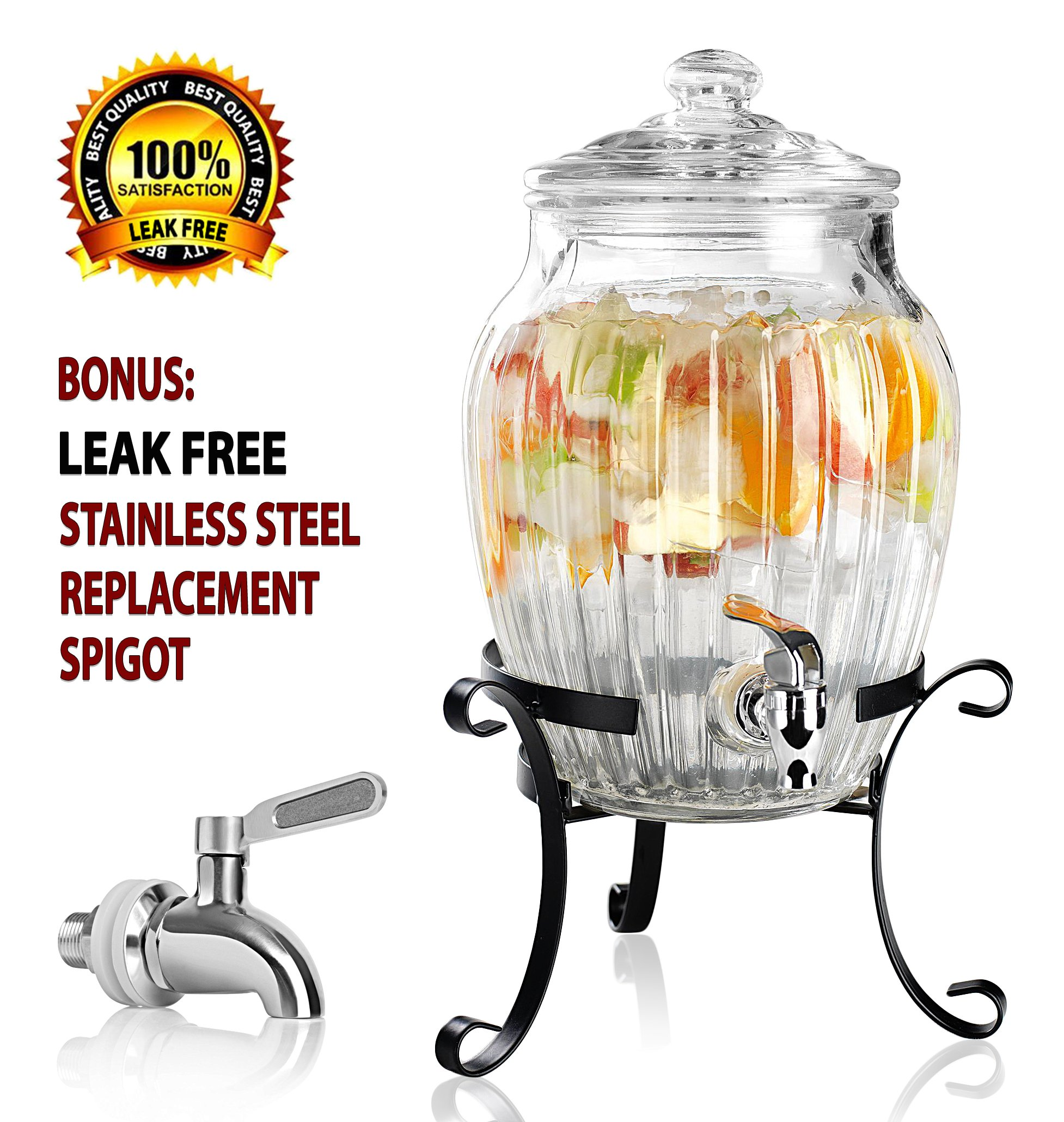 Clear Glass Vintage Drink Dispenser on Elegant Metal Rack Stand - 1.75 Gallon Capacity - Stainless Steel Leak Free Spigot Included - Home Bar & Party Beverage Server