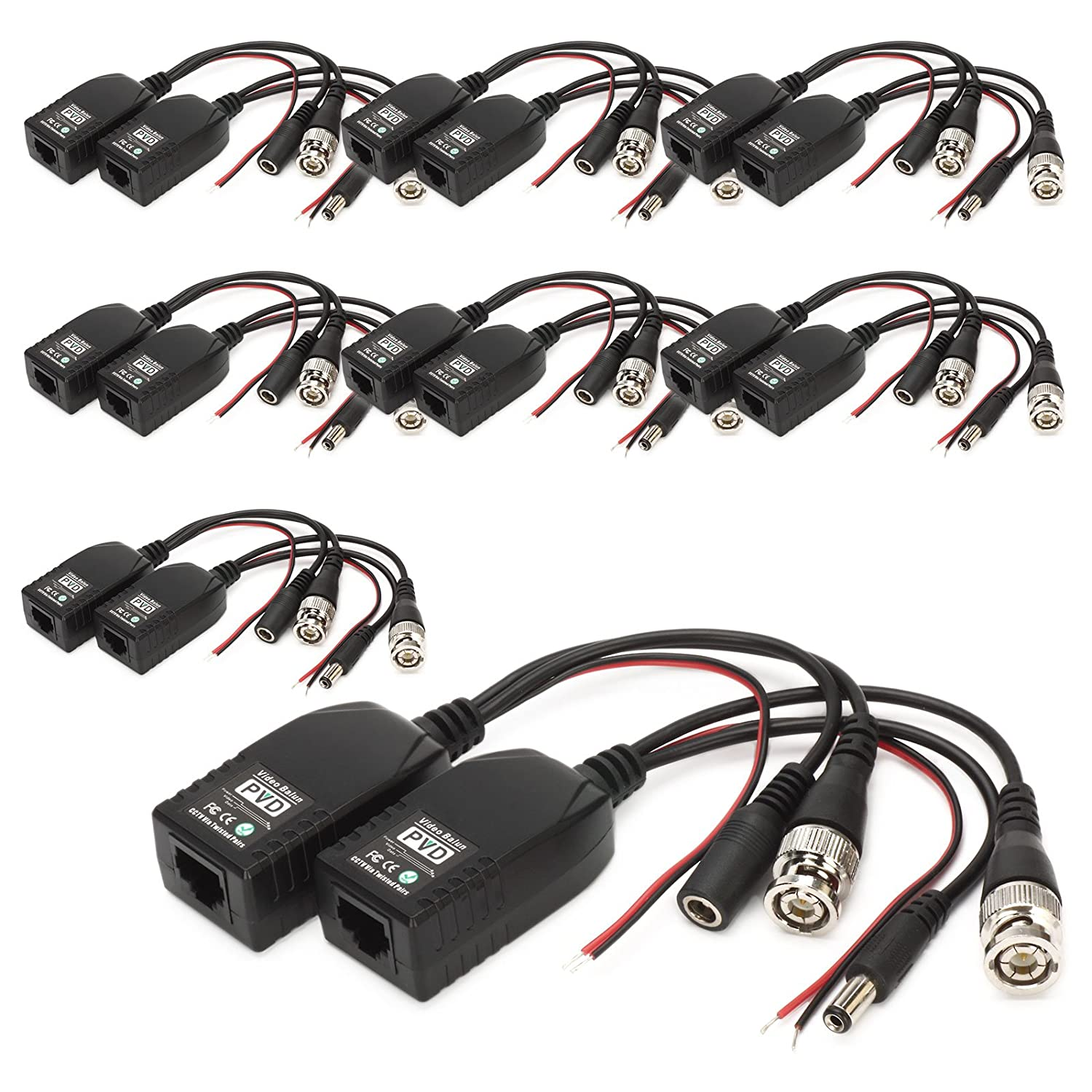 BNC to RJ45 CAT5 Video+Data+Power Balun Connector for CCTV PTZ Camera 2 Pairs