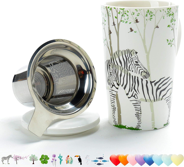 Spring TEANAGOO EM58-14 Porcelain Tea-Mug with Infuser and Lid Nice Gift for Tea Lover 18 OZ