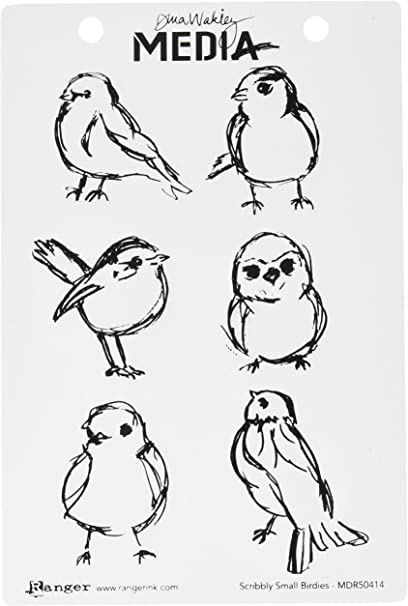 New MDR68600 SCRIBBLY HOLIDAY BIRDIE 2 Cling Mount Rubber Stamps Set by Dina Wakley Media