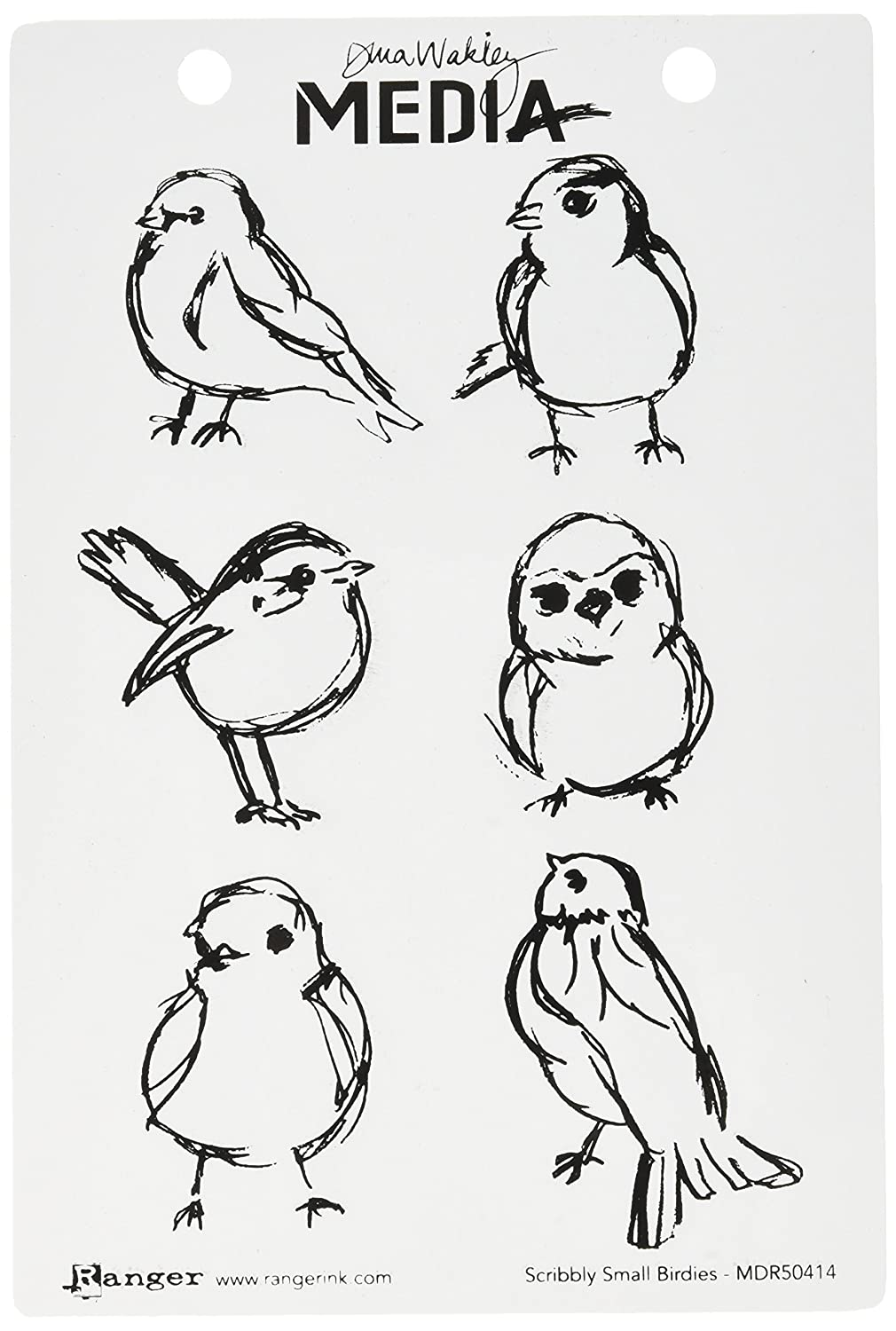 6 by 9 Clear Ranger MDR50414 Scribbly Birdies Dina Wakley Media Cling Stamps