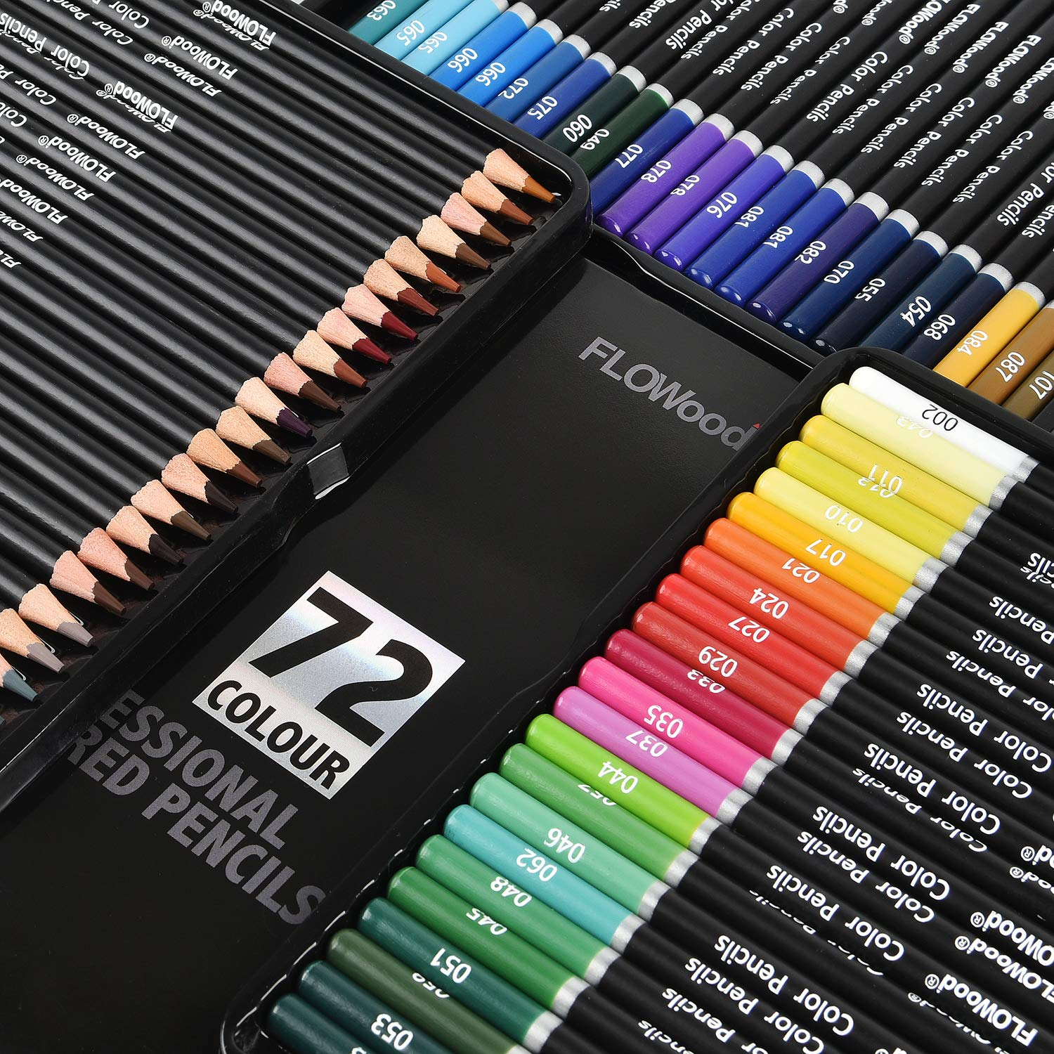 Flowood 72 Colored Pencils Soft Core Drawing Pencils Set Art Supply for Sketch Coloring Books Tin Case by Otdair (Image #4)