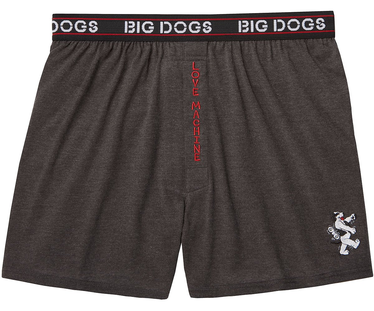 Big Dogs Love Machine Embroidered Knit Boxers 5X Charcoal Heather