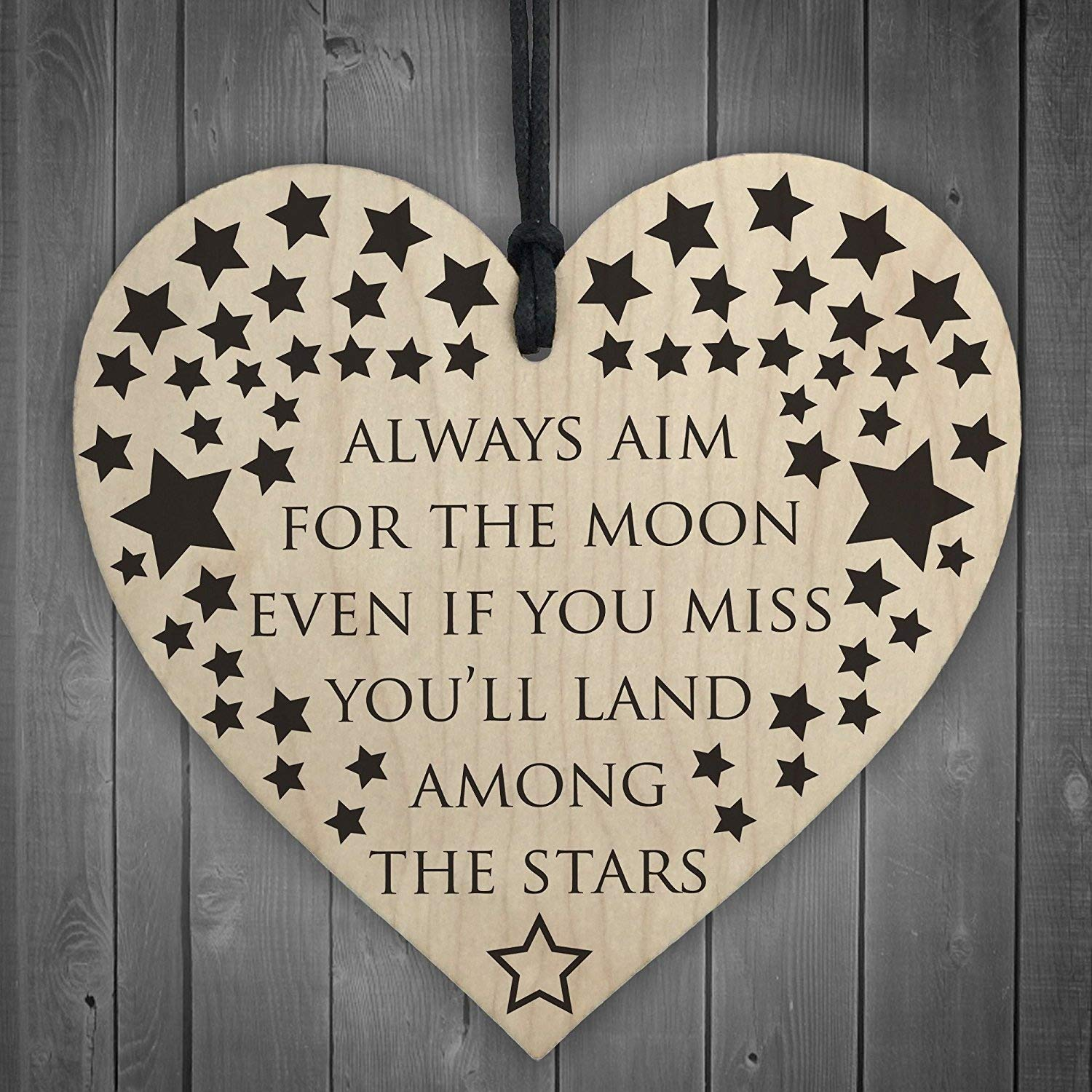 RED OCEAN Always Aim For The Moon Wooden Hanging Heart Shaped Friendship Gift Plaque Sign