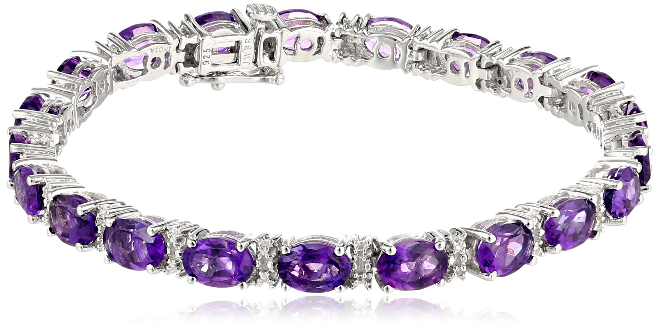 Sterling Silver  Amethyst Oval with Diamond Accent Bracelet, 7.25''