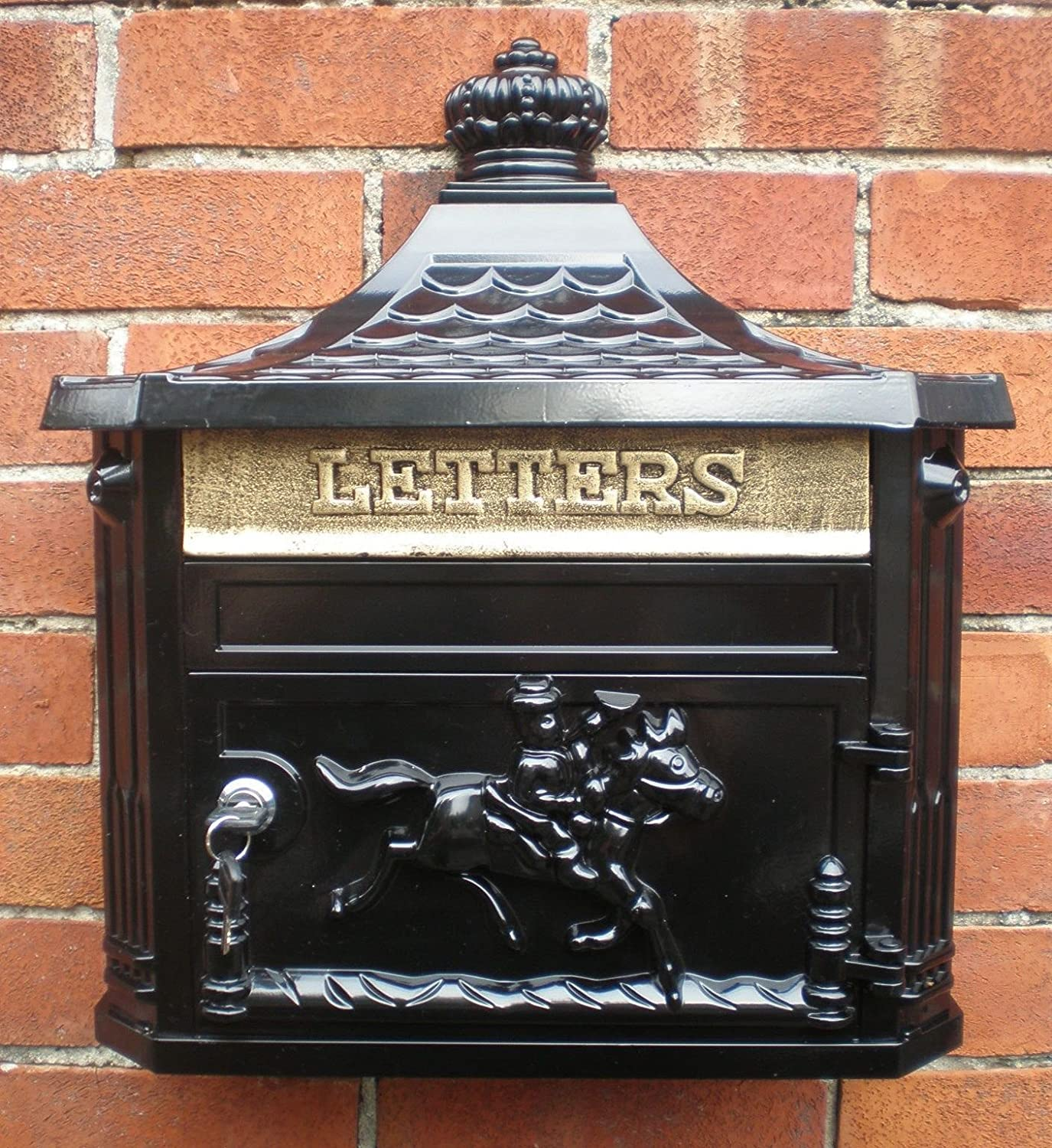 Antique Victorian Black Aluminium Wall Mounted Locking Letter Post Mail Box Giftwarez