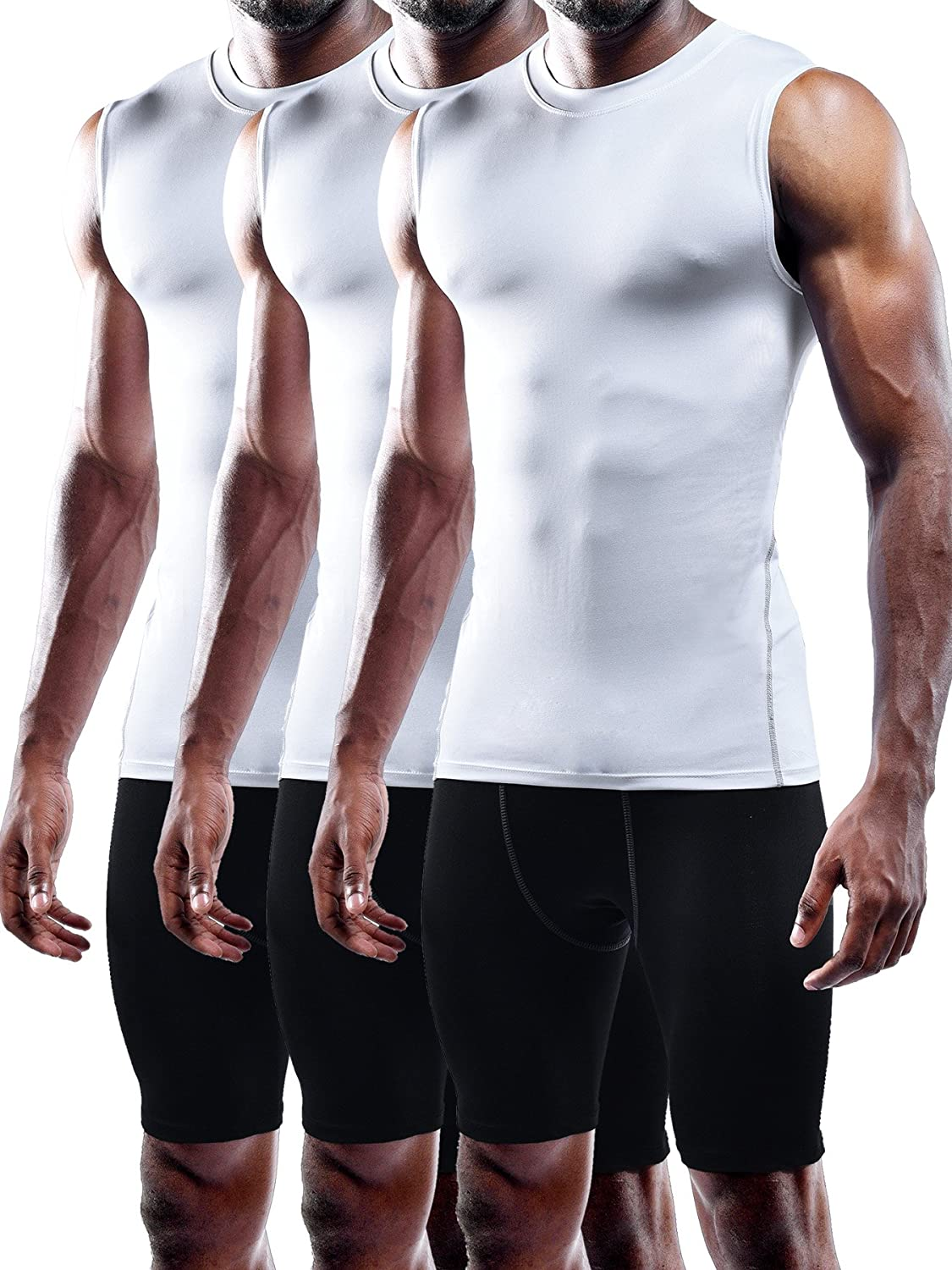 Neleus Men's 3 Pack Compression Athletic Muscle Sleeveless Tank Top NDT0002