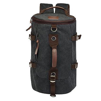 LUXUR Retro Duffel Cylinder Bag 30L Canvas Travel Backpack Hiking Shoulder Handbag, Black