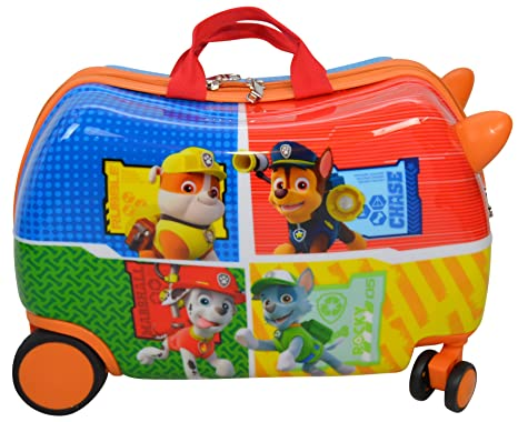 "Nickelodeon Paw Patrol Carry On Luggage 20"" Kids Ride-On Suitcase Optional Bonus Activity Pack (Red - Alone)"