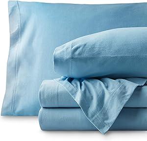 Bare Home Jersey Sheet Set, Ultra Soft, 100% Cotton - Breathable - Deep Pocket (Twin XL, Light Blue)