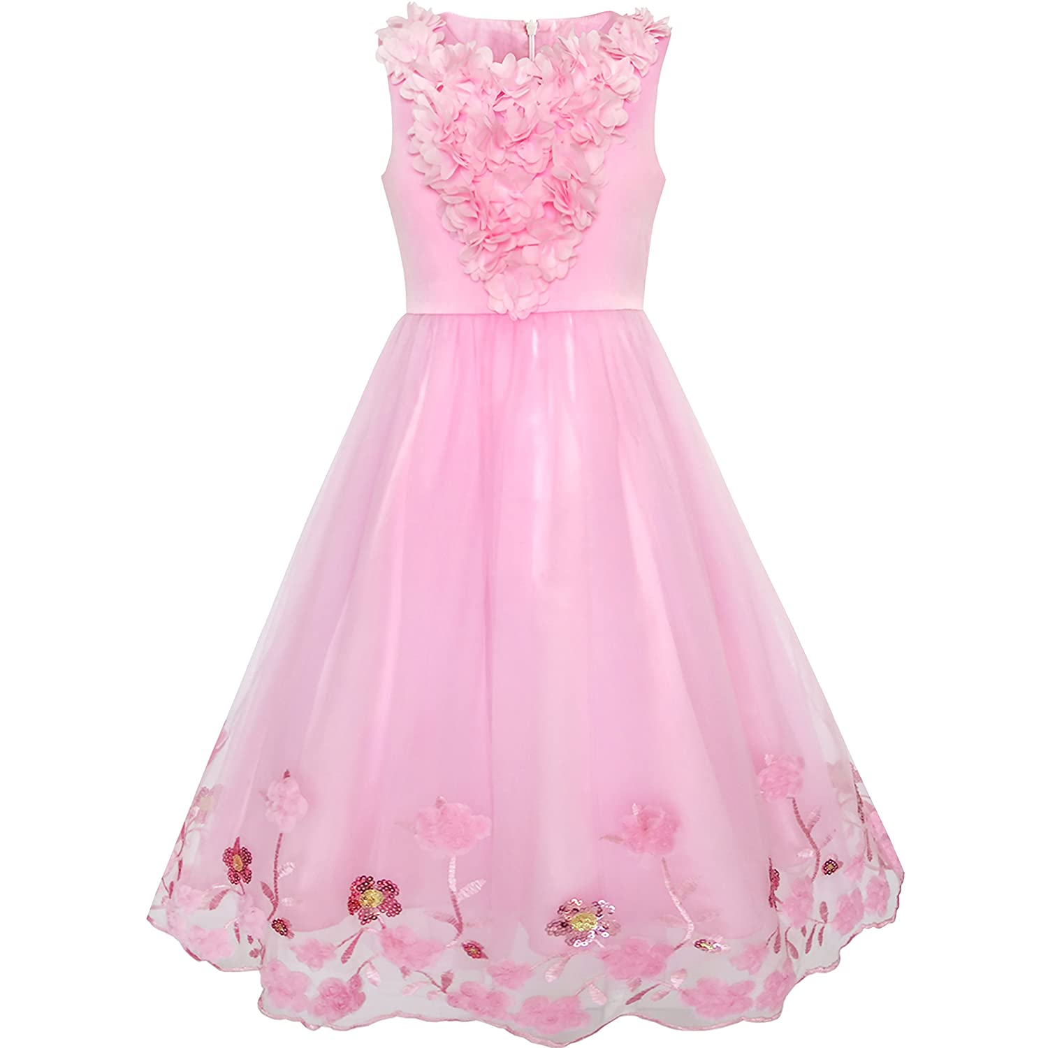 Sunny Fashion Flower Girls Dress Sequin dimensional Flowers Pageant Party