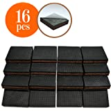 "NON-SLIP 16 SQUARE Furniture Pads! Premium Rubber & Felt Furniture Feet 2"" Best Hardwood Floor Protectors and Fix All Furniture. High Effective Rubber Feet & Felt Feet for 100% Satisfaction"