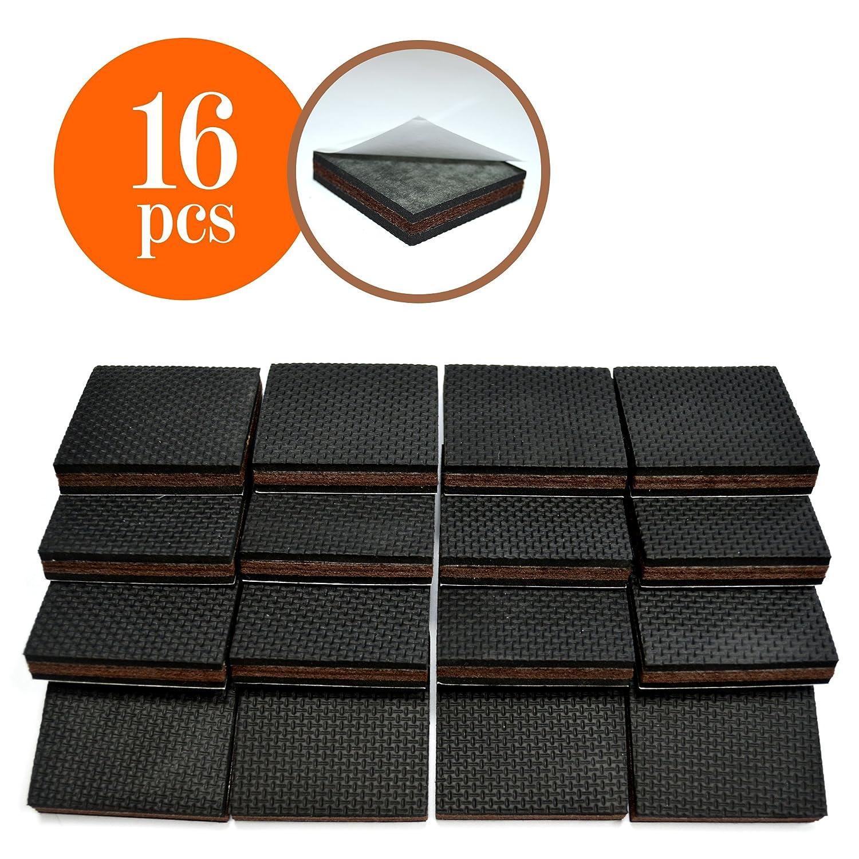NON SLIP 16 SQUARE Furniture Pads Premium Rubber & Felt Furniture