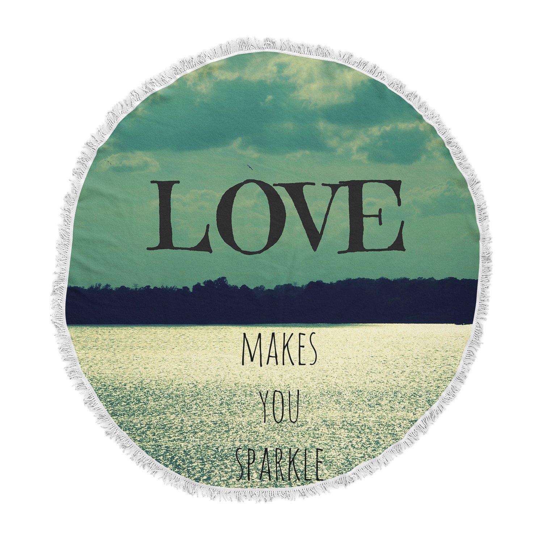 Kess InHouse Robin Dickinson Love Makes You Sparkle Round Beach Towel Blanket