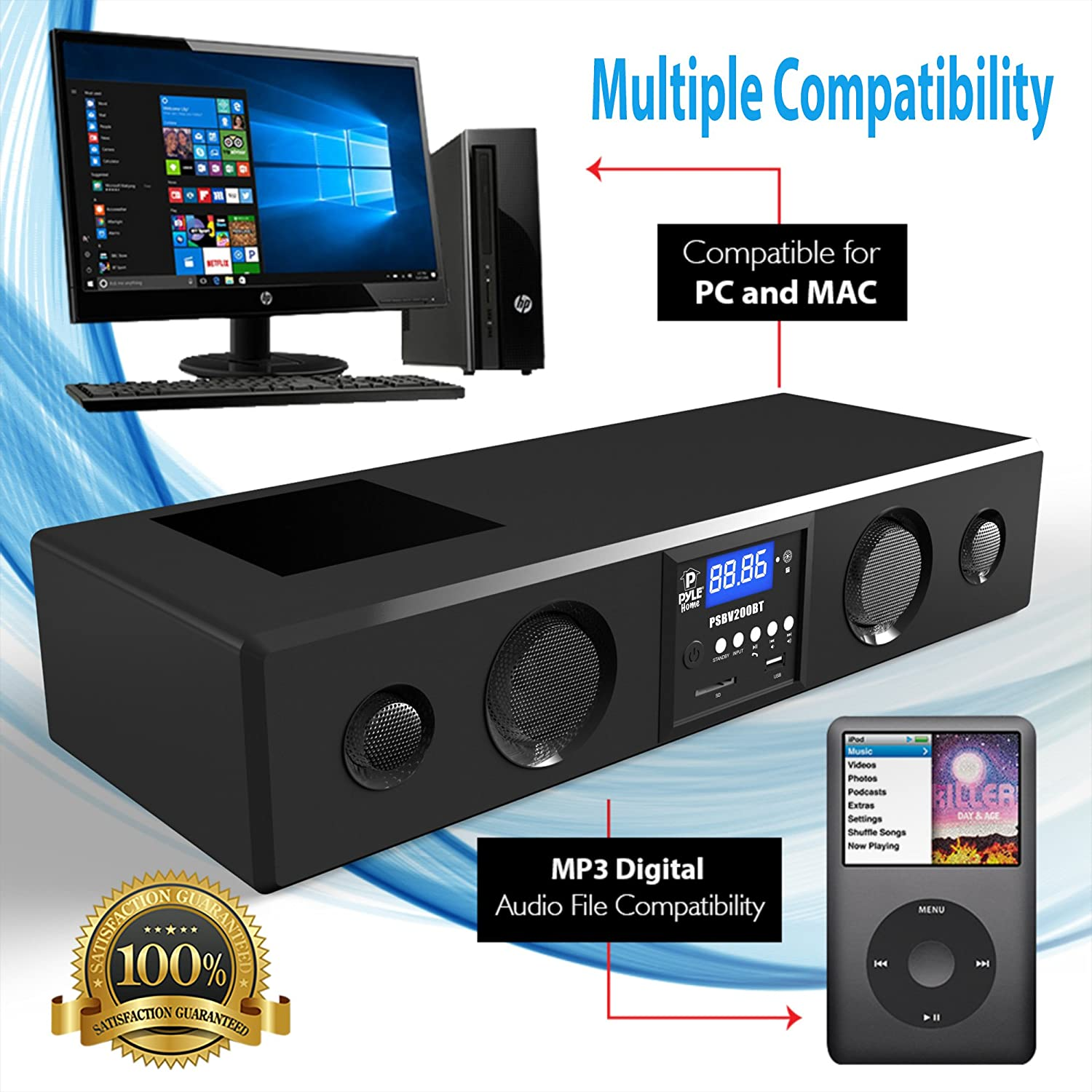Pyle 3d Surround Bluetooth Soundbar Sound System Details About 4 Channel Car Amplifier Wiring Kit8quot Speakerspyle Compatible To Tv Usb Sd Fm Radio With 35mm Aux Input And Wireless Remote Psbv200bt Home Audio Theater