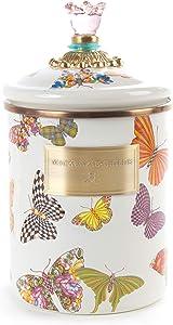 MacKenzie-Childs Butterfly Garden Medium Canister - White