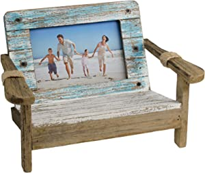 Excello Global Products Beach Chair Photo Frame: Holds 4x6 Horizontal Photo. Rustic Picture for Tabletop Display with Nautical Beach Themed Home Decor
