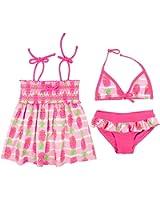 Floatimini Little Girls' Pineapple Stripe Print Smocking Tankini And Bikini 3 Pcs Set