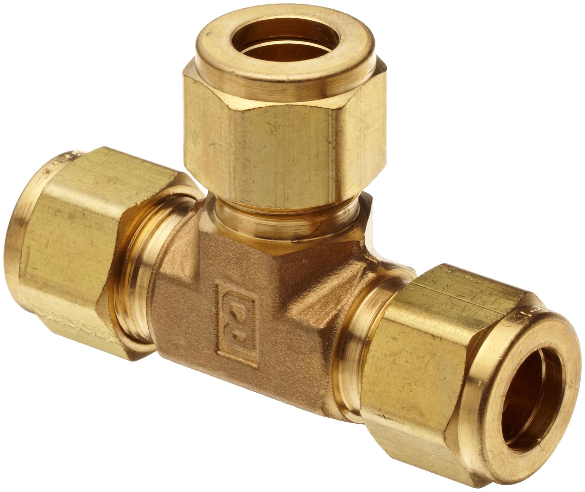 Parker A-Lok 4ET4-B Brass Compression Tube Fitting, Tee, 1/4'' Tube OD