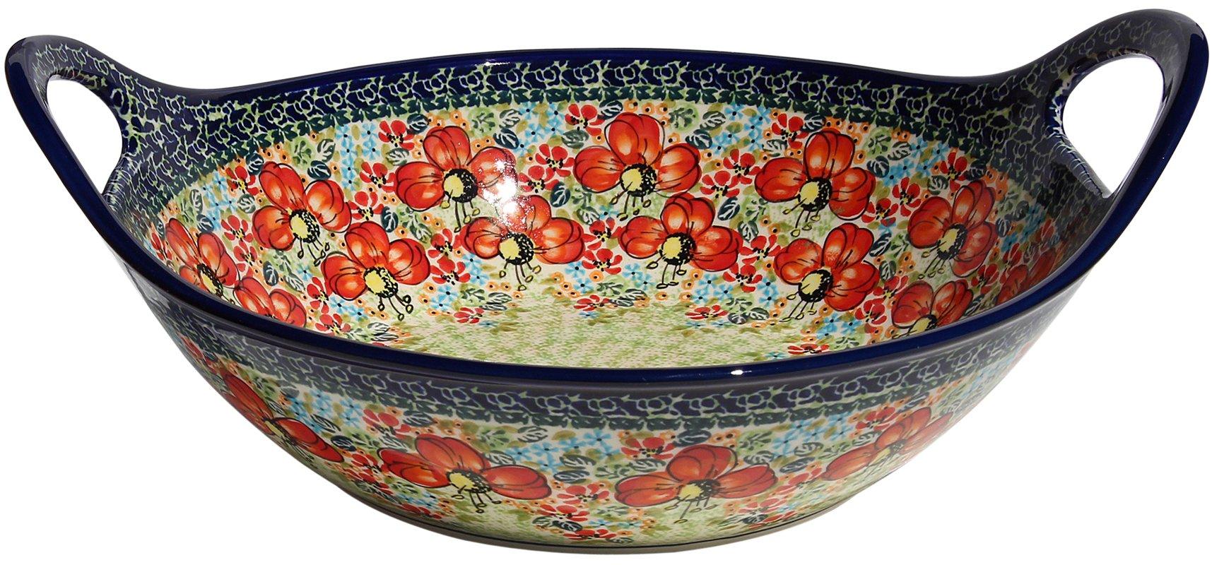 Polish Pottery Bowl with Handles From Zaklady Ceramiczne Boleslawiec #1347-296 Art Unikat Signature Pattern, Diameter: 12''