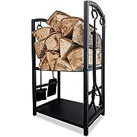 CROSSFER Brandhoutrek zwart metaal met haardbestek 4-delig, stapelhulp voor brandhout incl. pookhaak, schep, bezem en…