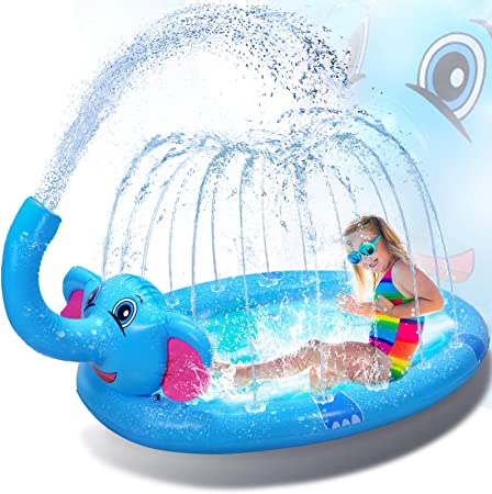 3 in 1 Splash Pad Inflatable Sprinkler Pool, Water Toys Fun Gifts for 2 3 4 5 6 Years Old Boy Girl Kids Pool Baby Pool Toddler Pool Inflatable ,Gifts for 3-12 Year Old Girls