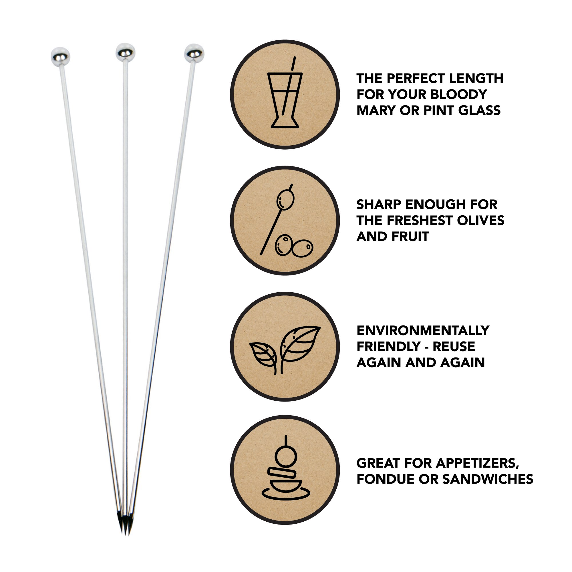 Stainless Steel Cocktail Picks - Extra long 8'' (Set of 12) by Top Shelf Bar Supply (Image #2)