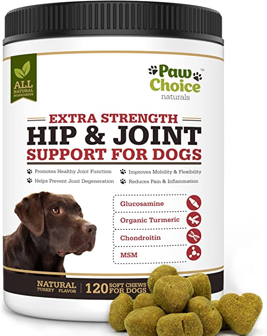 Paw Choice Dog Joint Supplement Chews - All Natural Glucosamine for Dogs with Chondroitin, MSM, Organic Turmeric - Hip and Joint Support for Dogs, Pain Relief - Made in USA, 120 Treats