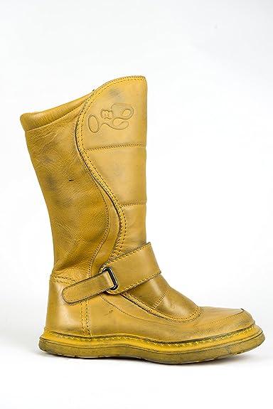 Eject Damen Herbstwinter Leder Currygelb Boots Stiefel LS3Aqc5j4R