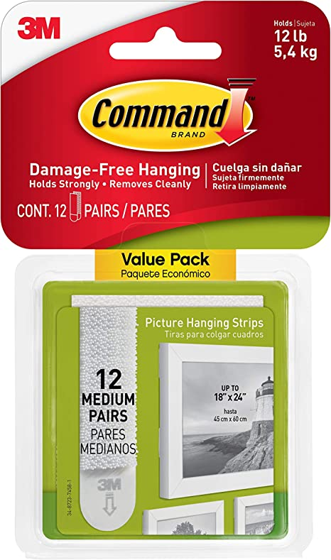 12-Pairs Large Command Picture /& Frame Hanging Strips Value Pack White