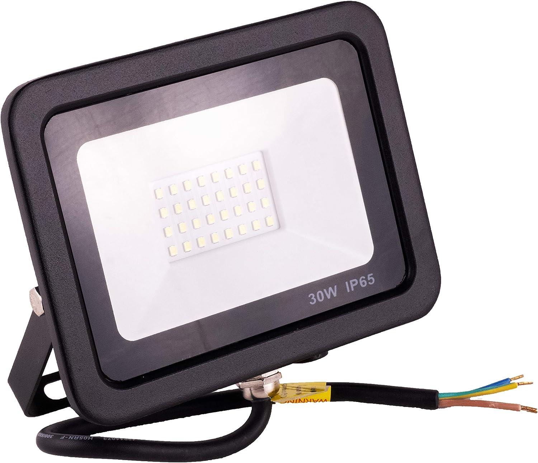 POPP® juegos de 5 y 10 Floodlight Led Foco Proyector Led 30W 50W 100W para Exterior Iluminación Decoración 4000k luz Neutra Impermeable IP65 Negro y Resistente al agua. (4000K 30W, 1 Unidad)