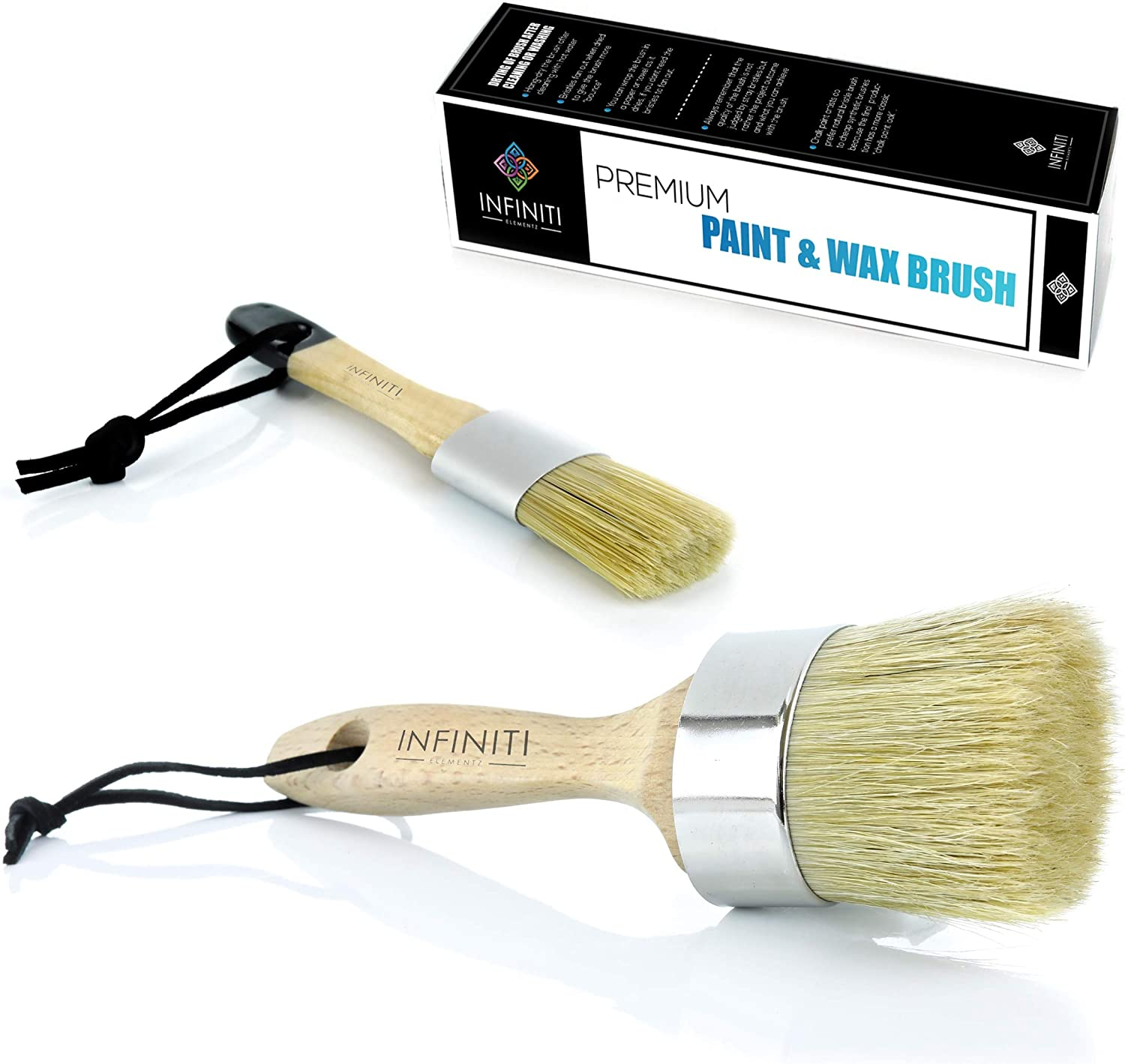 Super Coverage !!!! Professional Chalk and Wax Paint Brush !!! DIY Painting and Waxing Tool | Natural Bristles | Home Décor, Wood Projects, Furniture, Stencils | Reusable (2 pc Set)