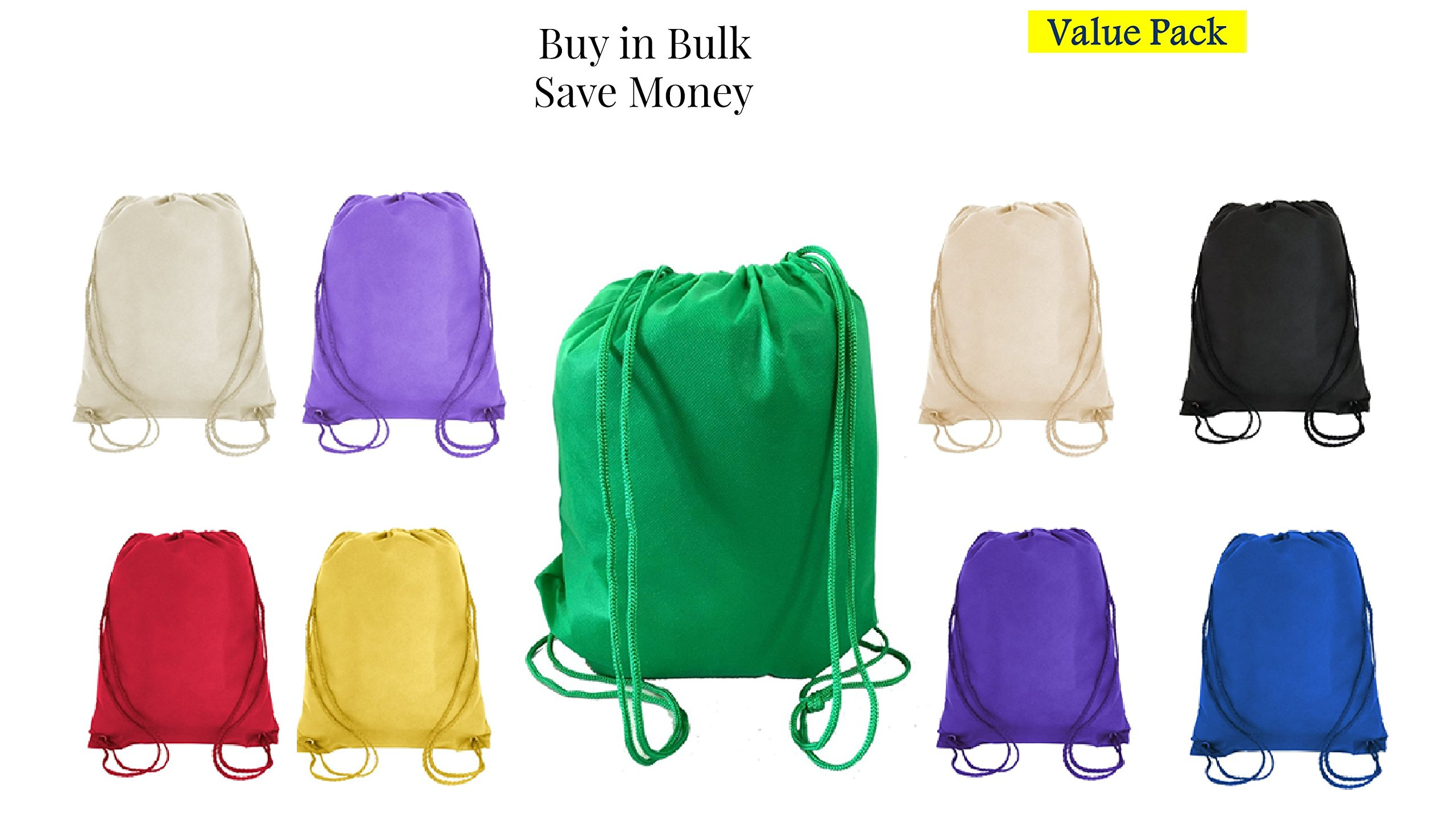 Value Pack- 100 Pack Mix Color Drawstring Bags, Small Size Junior Cinch Packs, Non-Woven Backpack (Mix) (Mix)