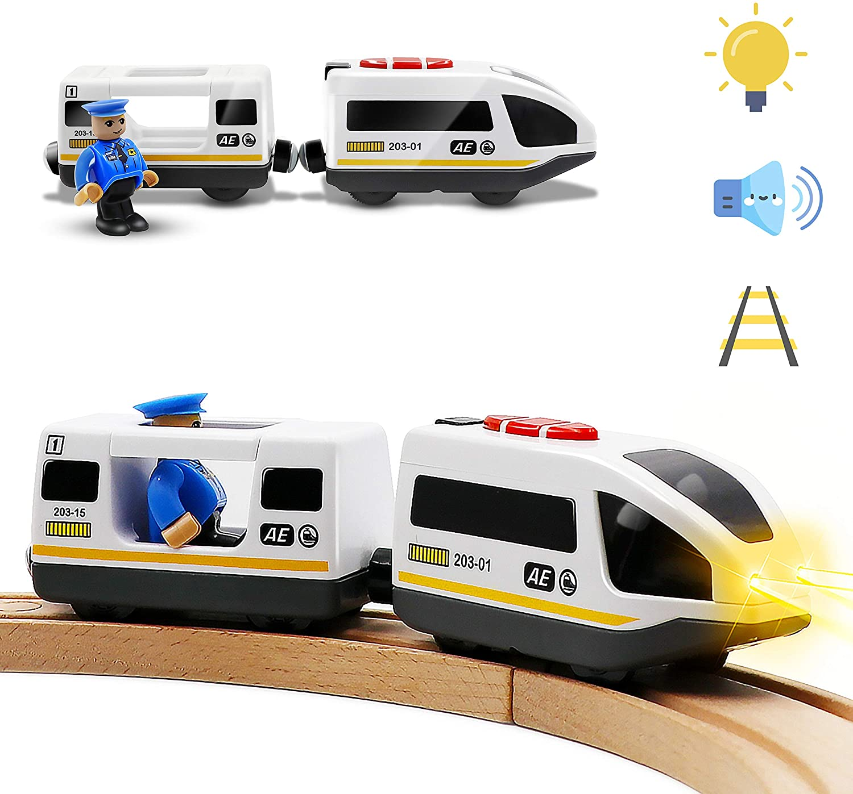 Tren de Locomotora de acción con batería (conexión magnética) - Potente Juego de Tren de Bala del Motor para Thomas Chuggington Tren y orugas de Madera - Coche de Juguetes para niños pequeños