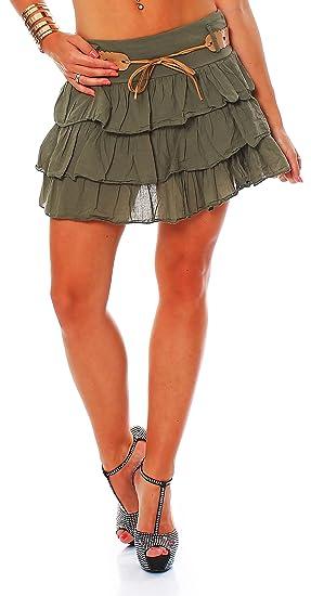 Arunta Minifalda de volantes para mujer con puntas y cintur/ón varios colores