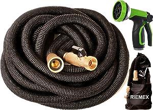 Riemex Expandable Garden Hose Black 75 FT [New 2021] Heavy Duty Water Hose - TRIPLE LATEX - Expanding Solid Brass Metal Fittings Connectors, Flexible Strongest 75FT, Black, P101