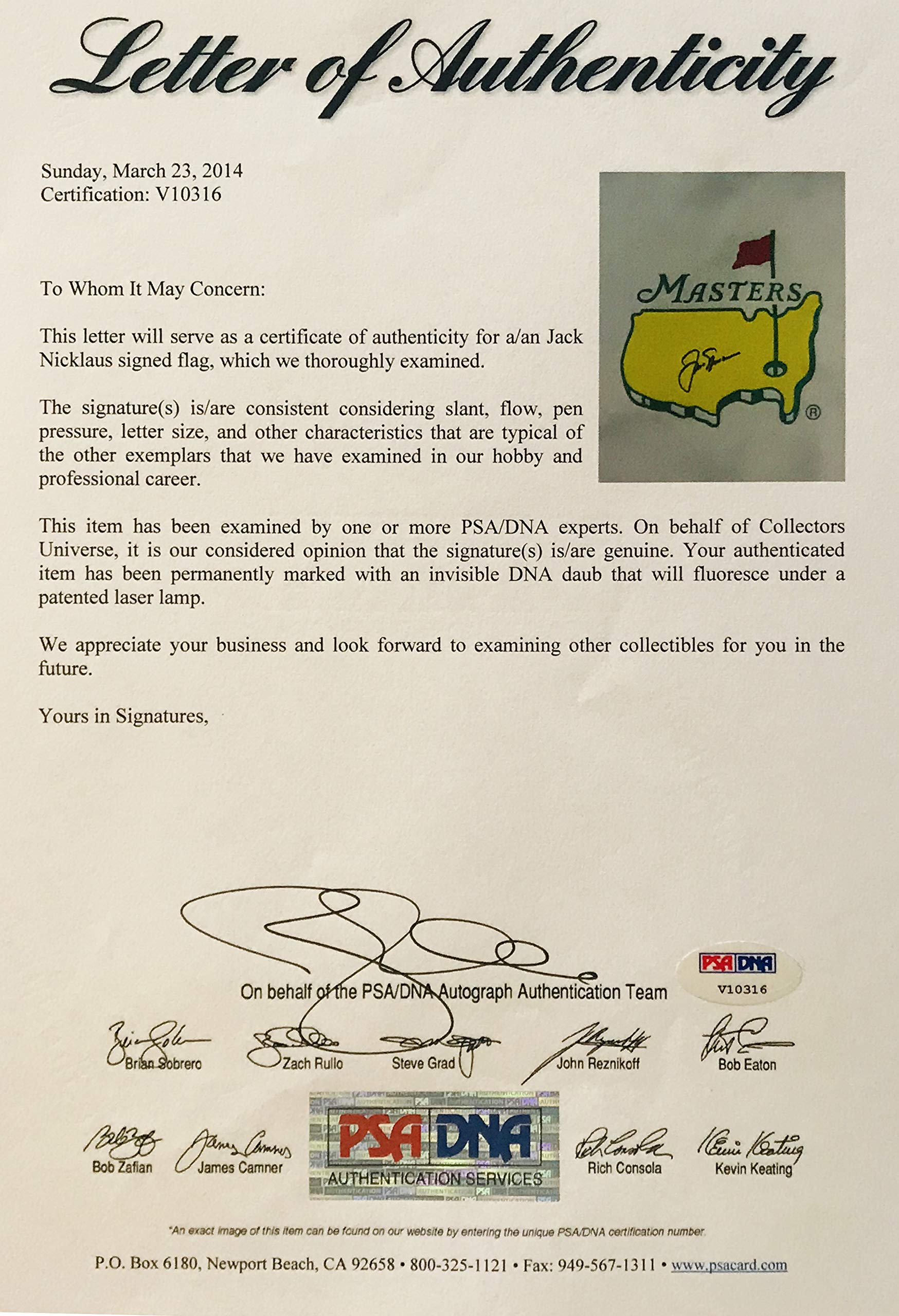 Jack Nicklaus signed Masters golf flag pga augusta national psa dna loa